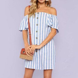 New SHEIN Off the Shoulder Button Dress